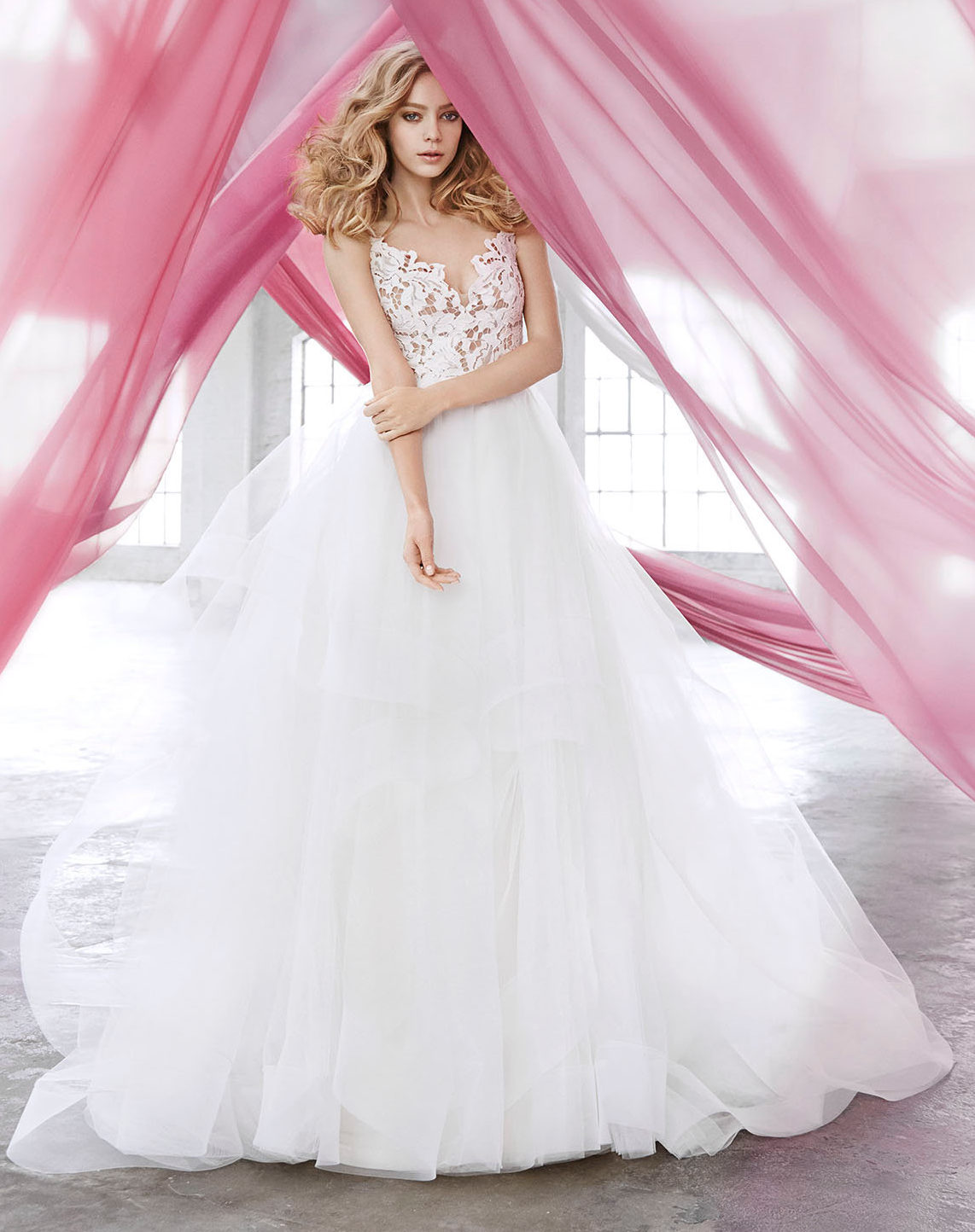 blush-hayley-paige-bridal-lace-tulle-ball-gown-scalloped-v-neck-strap-tiered-tulle-horsehair-trim-1600_lg